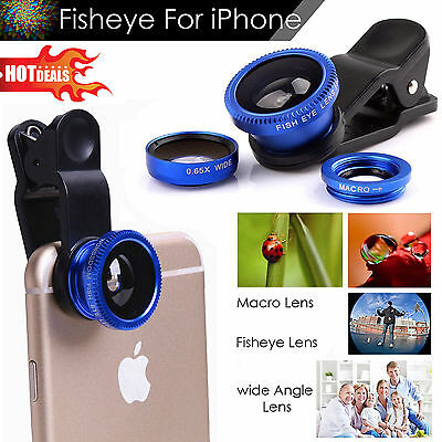 180 Clip On Fish Eye Lens Wide Angle Macro Camera Lens Kit For Phone Tablet…