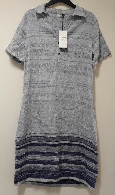 Cool + summery NEW Marks & Spencer linen/cotton mix ladies dress - size 14 (42)