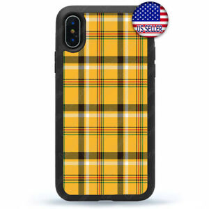 best service 33b72 84a83 Details about Yellow Plaid Case Cover For iPhone X Xs Max XR 8 7 6 Plus 5 4  Winter Fall Style