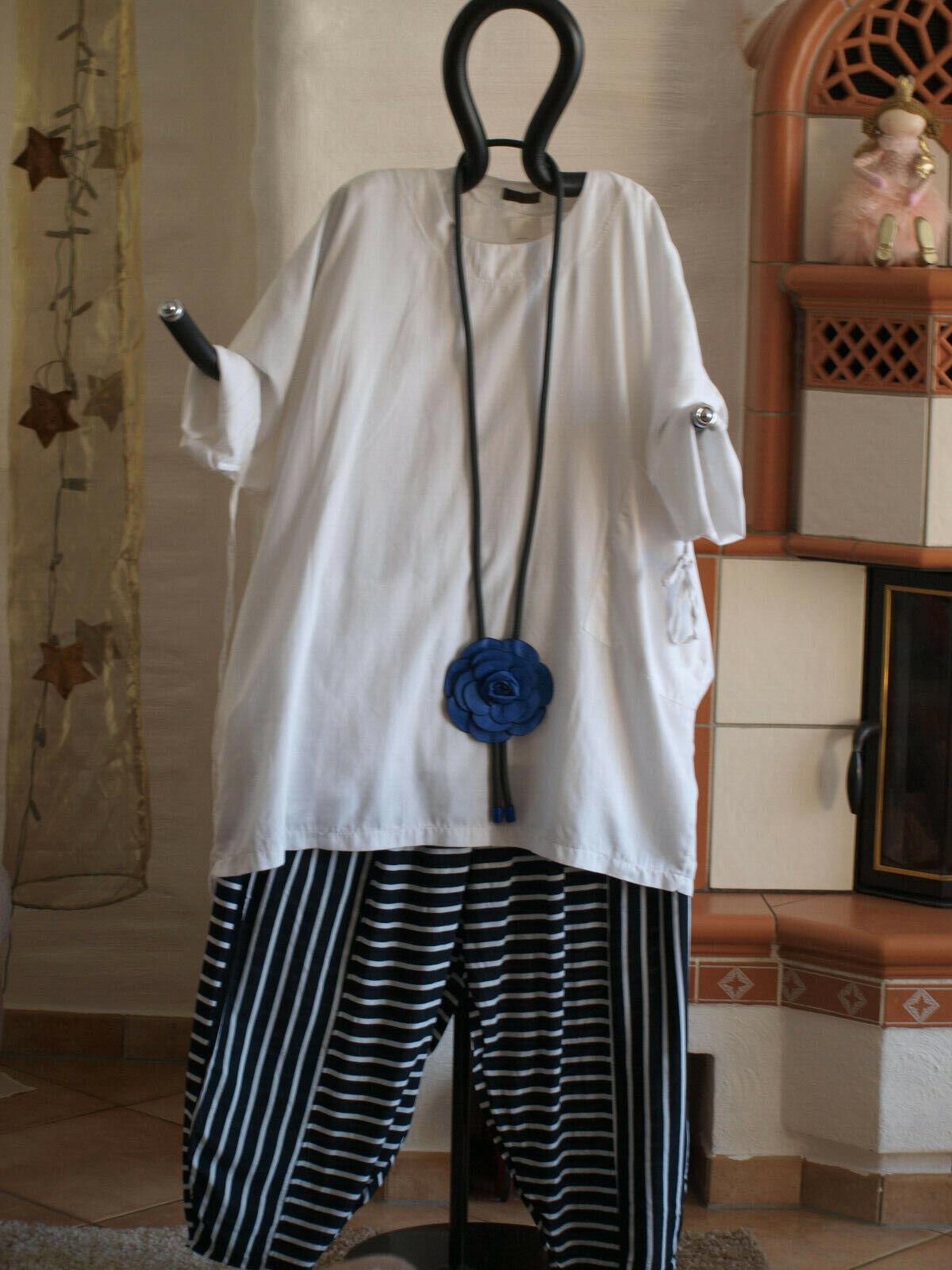 1951 LABASS Lagenlook Baumwoll Shirt mit Schal STRIPES weiß unifarben EG