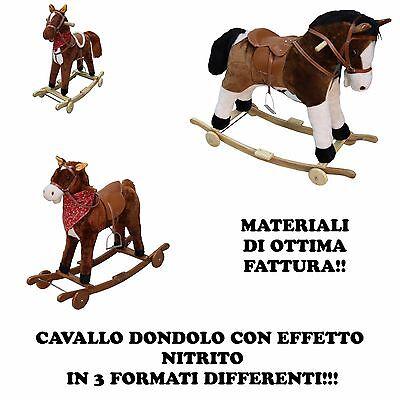 Amichevole Cavallo Cavallino Peluche Con Ruote Dondolo Marrone Beige Bimbo Bambino Rumore Per Spedizioni Veloci