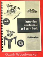 Dewalt Mb Amp Gw Radial Arm Saw Instructions Amp Parts Manual 0261