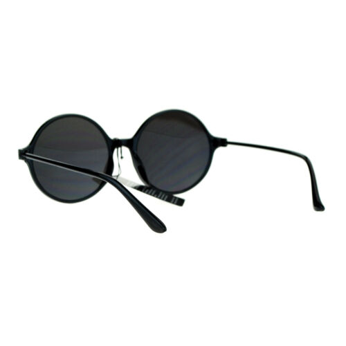 Womens Thin Light Weight Sunglasses Black Round Circle Frame Mirror Lens