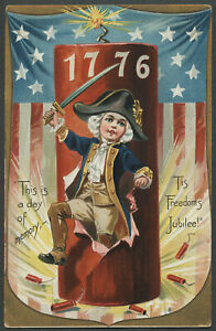 c.1909 Tuck Postcard INDEPENDENCE DAY SERIES 109 July Fourth 1776 Fire Cracker