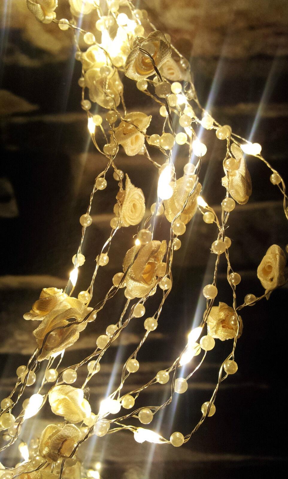 90 Lichter Creme LED Lichterregen Silberdraht Außen Außen Außen Rosanblüten Blüten Hochzeit | Zu einem erschwinglichen Preis  3f3dcd