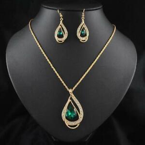 Moda-Crystal-Mujeres-Cadena-Jewelry-Sets-Pendiente-Chapado-en-oro-de-18K-Collar