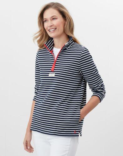 Navy Cream Stripe Joules Womens Pip Half Zip Sweatshirt