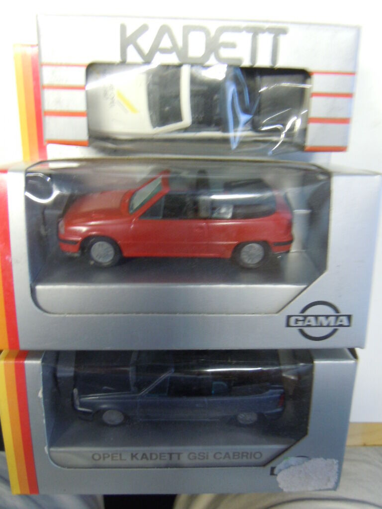 3 RARE Opel Kadett E GSi cabriolet modèles de Gama MAB dans 1 43 neuf dans sa boîte NEUF