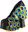 IRREGULAR CHOICE BEST OF ALL BLACK 5.5 SHOES PUMPS PEACOCK FEATHERS HIGH NIB