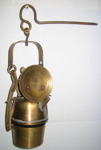 Grubenlampe Karbidlampe Bergbaulampe Messing Handarbeit im Antik Stil Makel 30cm