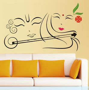 57161 | Wall Stickers Radhe Krishna with Flute