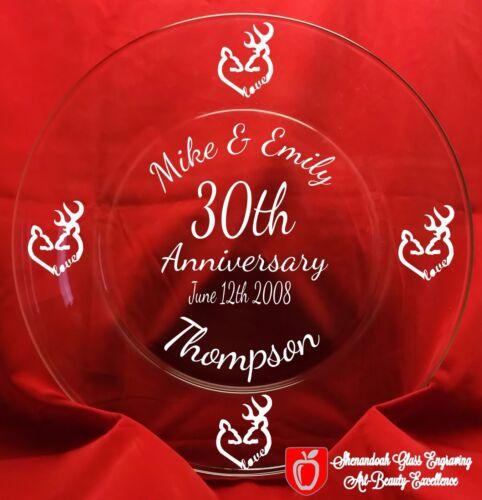 Personalized Engraved Anniversary Glass Plate Keepsake