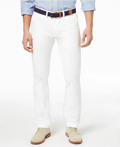 b844929405 Tommy Hilfiger Men's White Custom Fit Casual Dress Chino Pants Size 34w 30l  for sale online | eBay