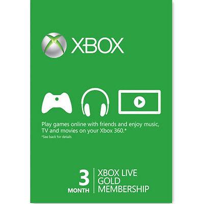 3 Mesi Xbox Live Gold Abbonamento ANNUALE per Microsoft Xbox ONE e XBOX 360 IT