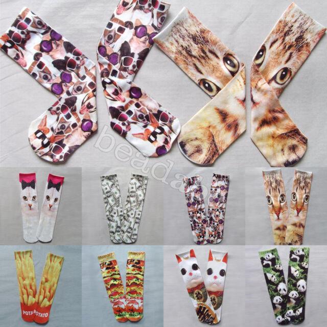 Men Women Multiple Colors Harajuku 3D Printed Cute Unisex Cotton High Socks New