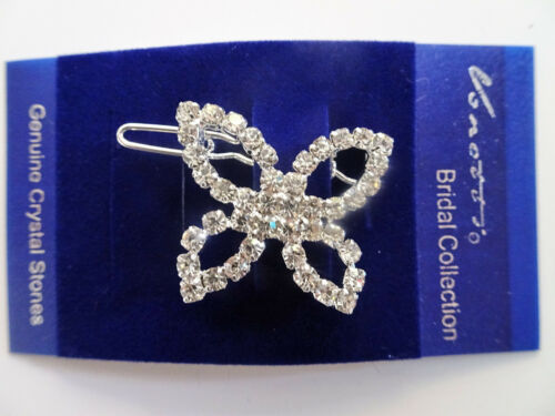 Pretty SMALL Butterfly Crystal Hair Grip Slide Hair Jewellery in silver Tone 3cm