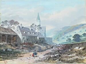 Watercolour-mountain-signed-EC-early-19eme-century-house-Alphonse-giroux