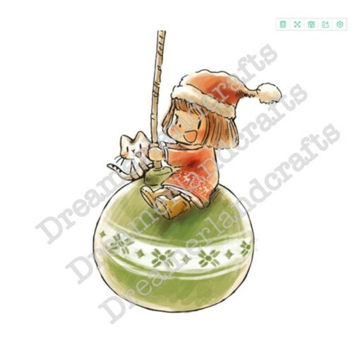 Girl Green Christmas Ball Cat Transparent Clear Stamps Metal Cutting Dies