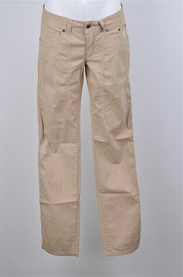 Pantalone JECKERSON donna beige 29 43 saldi cotone slim jeans estivo 65% nuovo