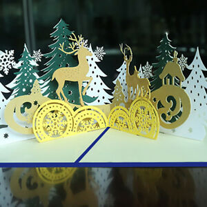 Creative-3D-Pop-Up-Handmade-Christmas-Forest-Deer-Greeting-Card-Xmas-Decor-Gift