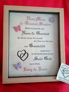 Grandad Nana Quote Birthday Gift Personalised Picture Frame Keepsake