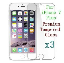3x Tempered Glass Screen Protector Film For Apple iPhone 7Plus Wholesale Job Lot