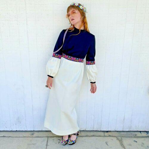 Vintage Fairycore Maxi Dress Hippie Clothes Puffy… - image 1