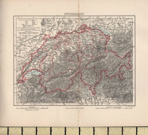 c1880 VICTORIAN MAP SWITZERLAND SHOWING LARGE TOWN POPULATIONS