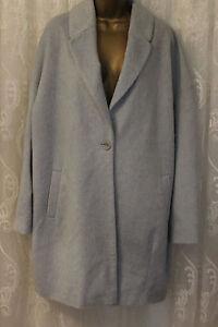 18 Wool Fit Shoulders Cocoon Asos 46 Fluffy Blend Blue Drop Relax Longline Coat pdPn1q