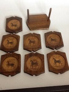 The-Black-Horse-Inn-Coasters-Set-Of-7-Hand-carved-Sere-Wood-Japan