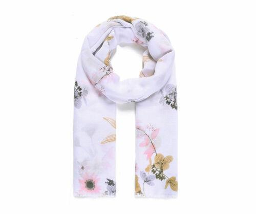 LADIES  WHITE FLORAL FLOWER PRINT SCARF OVERSIZED  SCARF GREY BORDER GIFT IDEA