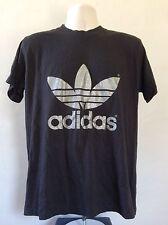 Vtg 80s Adidas Glitter Trefoil T-Shirt Black Silver Double Sided 50/50