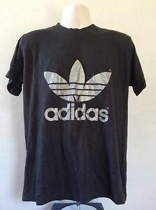 095710e50ff6e Details about Vtg 80s Adidas Glitter Trefoil T-Shirt Black Silver Double  Sided 50/50