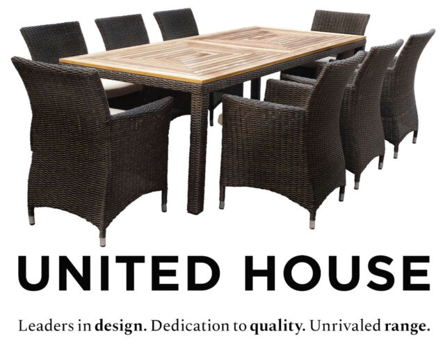 Wicker Rattan Outdoor Dining Table And Chairs Furniture Setting For Sale Online Ebay
