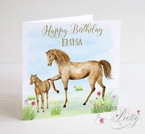 Image Is Loading Beautiful HORSES Birthday Card Girls Daughter Granddaughter Sister