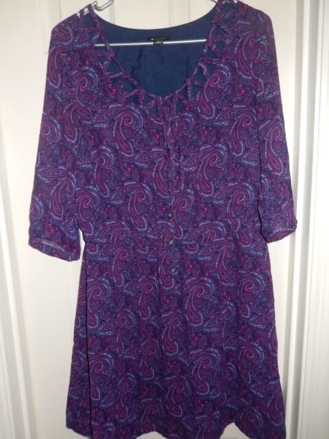 I LOVE RONSON Blue Pink Purple Paisley 3/4 Sleeve Dress Size M