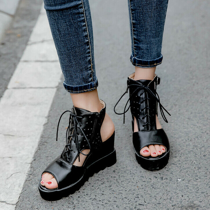Fashion Wedge Sandals Women's High Heels Lace UP Summer shoes Pumps Buckle