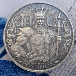 1 oz LOST CITY OF ATLANTIS Antiqued rounds .999 fine silver POSEIDON