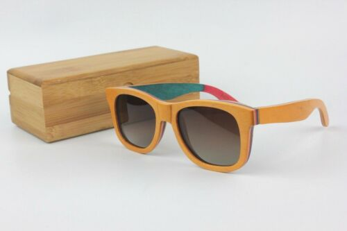 Bamboo Tan Brown Retro Square Polarised Skateboard Sunglasses With Wood Case