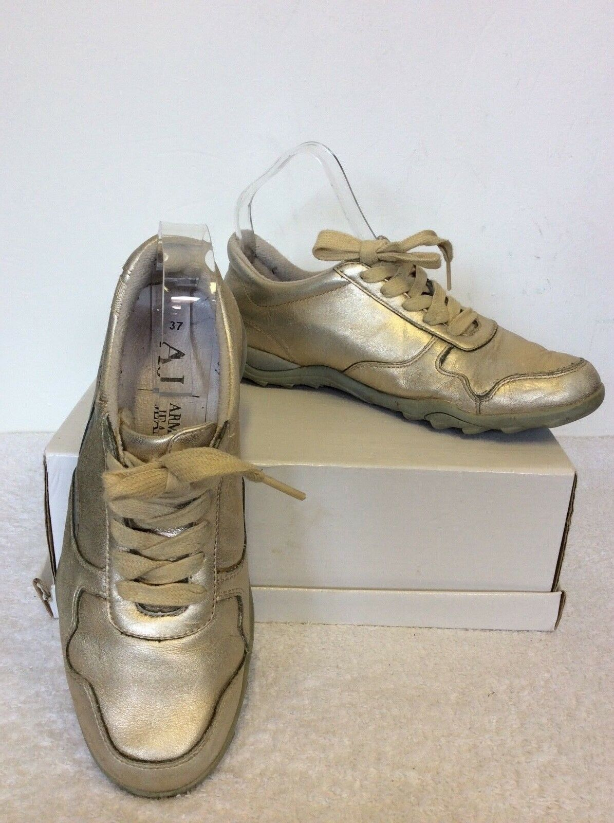 ARMANI JEANS PALE gold LEATHER TRAINERS SIZE 4 37