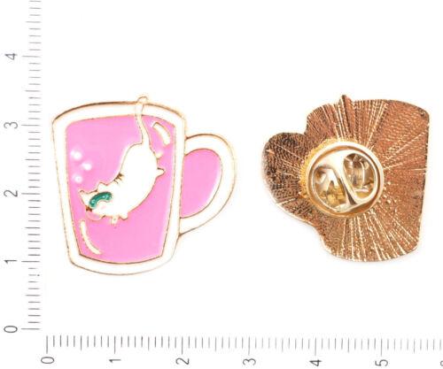 1pc chat couleur Or Plaqué Émail collar badge broche Lapel Pins Bijoux Métal...