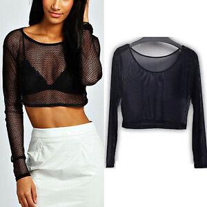 Damen-Schier-Transparent-Mesh-Bluse-Netz-Bauchfrei-Crop-Top-Oberteil-Shirts-Hemd