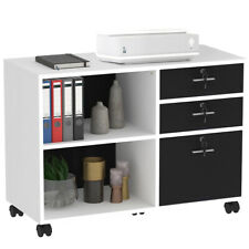 3 Drawer Lateral File Cabinet Wood Storage Mobile Withlock Office Home Shelf White