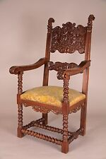 Gothic, Jacobean Carved Arm Chair, English, 19th C. Antique, Handmade, Ex. Cond.