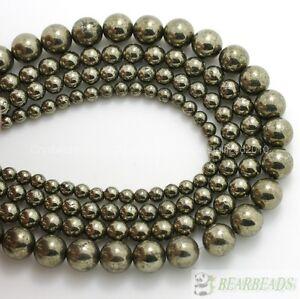 Natural-Iron-Pyrite-Gemstone-Round-Beads-2mm-3mm-4mm-6mm-8mm-10mm-12mm-14mm-16-039-039