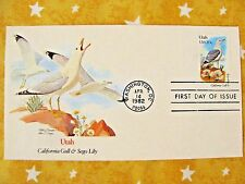 1982 STATE BIRDS & FLOWERS SERIES Utah Calif Gull Sego Lily UNADRESSED Stamp