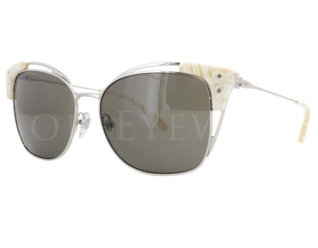 3bfcf56e32cd NEW Tory Burch TY6049 31493 56mm Silver Ivory Confetti   Solid Smoke  Sunglasses