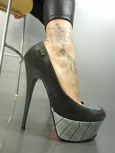 Schuhe Pumps Heel Scarpe di coccodrillo Grigio Italy Grigio 37 Mori High Pelle Platform wYUUa1