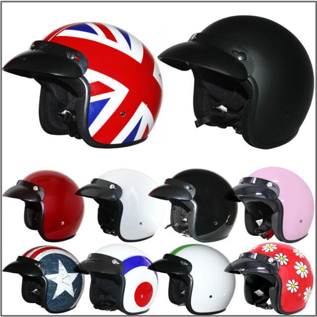 Vcan V500 Open Face Motorcycle Helmet M Matt Black