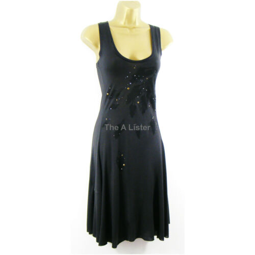 Ichi Grey Stretch Jersey Sleeveless Fit /& Flare T Shirt Vest Dress Size 8 New